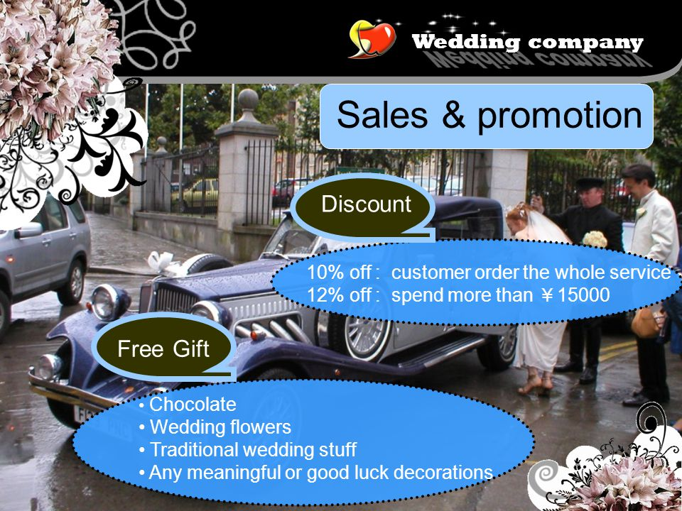 Wedding company Sales & promotion Discount 10% off : customer order the whole service 12% off : spend more than 15000 Chocolate Wedding flowers Traditional wedding stuff Any meaningful or good luck decorations Free Gift