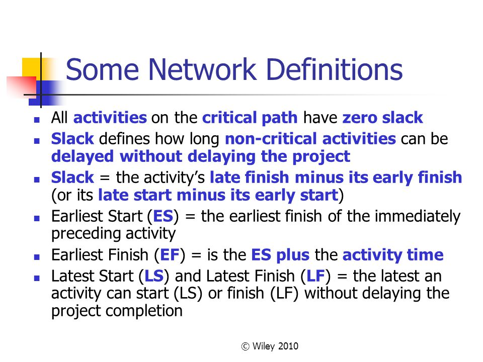 © Wiley 2010 Some Network Definitions All activities on the critical path have zero slack Slack defines how long non-critical activities can be delayed without delaying the project Slack = the activitys late finish minus its early finish (or its late start minus its early start) Earliest Start (ES) = the earliest finish of the immediately preceding activity Earliest Finish (EF) = is the ES plus the activity time Latest Start (LS) and Latest Finish (LF) = the latest an activity can start (LS) or finish (LF) without delaying the project completion