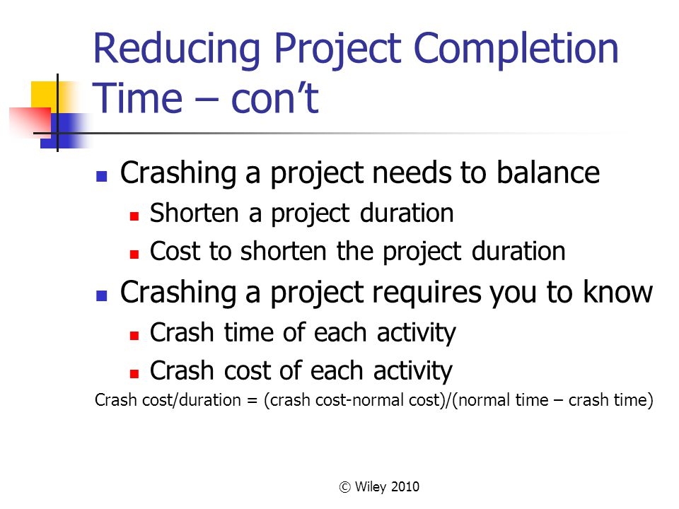 © Wiley 2010 Reducing Project Completion Time – cont Crashing a project needs to balance Shorten a project duration Cost to shorten the project duration Crashing a project requires you to know Crash time of each activity Crash cost of each activity Crash cost/duration = (crash cost-normal cost)/(normal time – crash time)