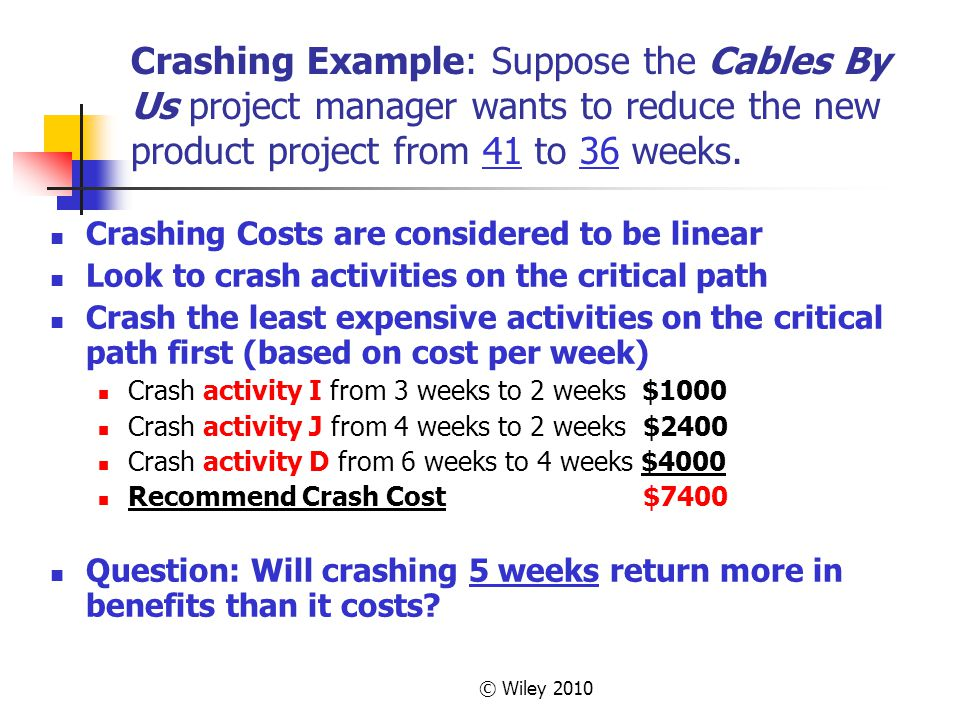 © Wiley 2010 Crashing Example: Suppose the Cables By Us project manager wants to reduce the new product project from 41 to 36 weeks.