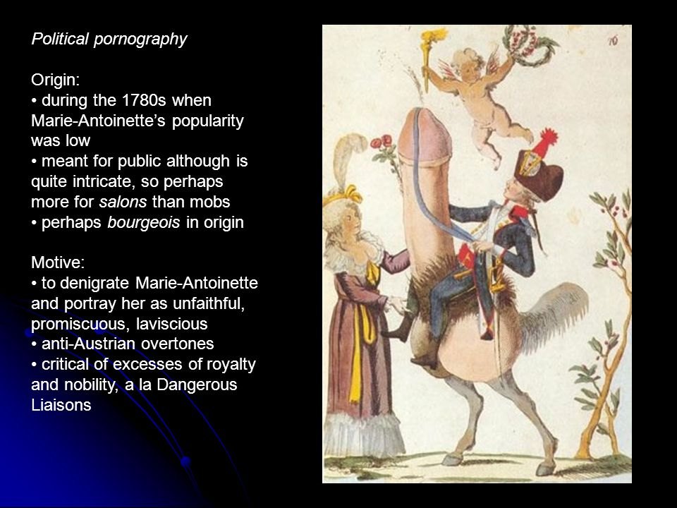 Political pornography Origin: during the 1780s when Marie-Antoinettes popularity was low meant for public although is quite intricate, so perhaps more