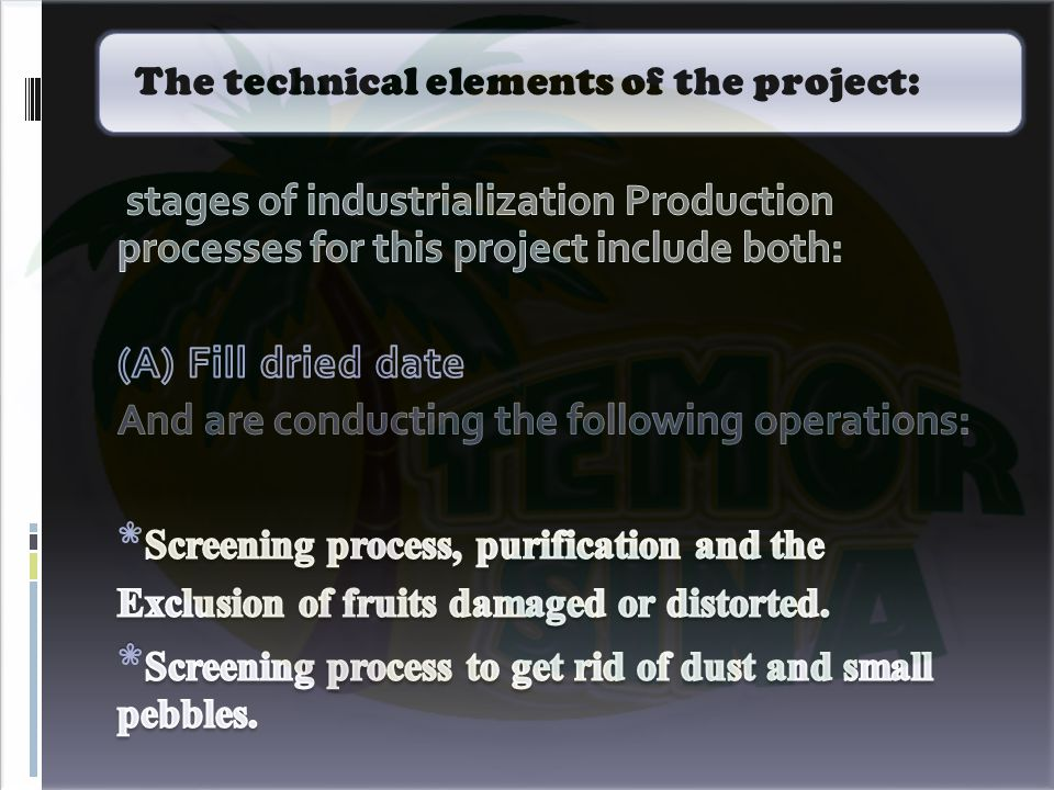 The technical elements of the project: