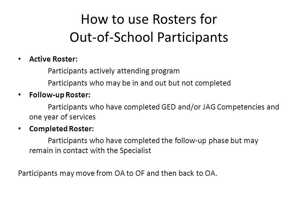 How to use Rosters for Out-of-School Participants Active Roster: Participants actively attending program Participants who may be in and out but not co