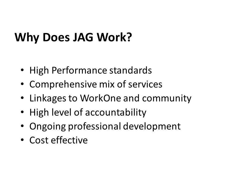 Why Does JAG Work? High Performance standards Comprehensive mix of services Linkages to WorkOne and community High level of accountability Ongoing pro