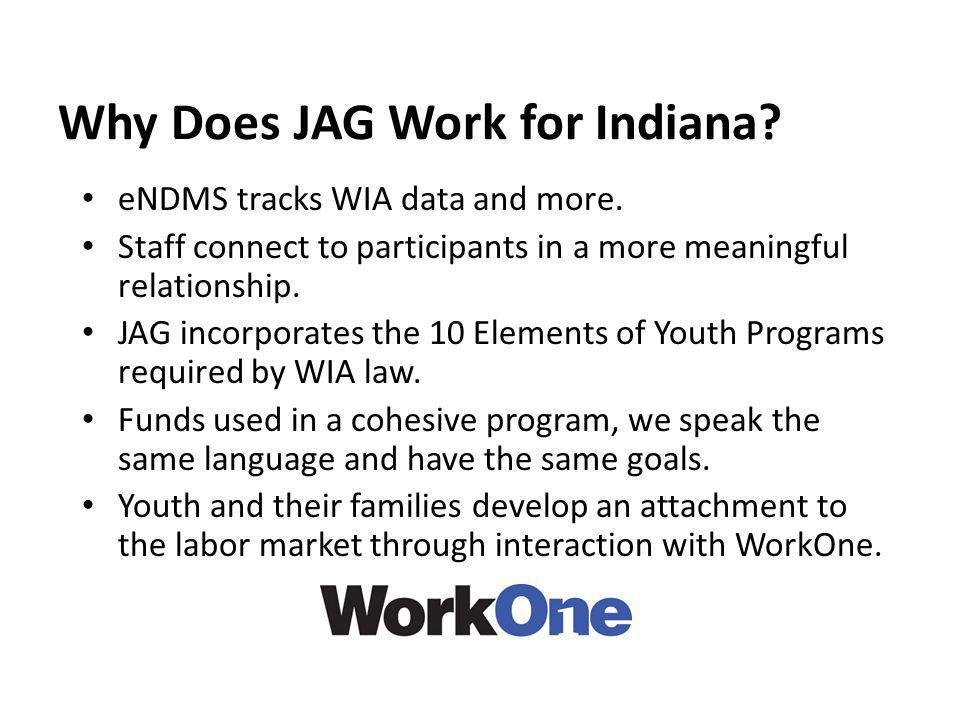Why Does JAG Work for Indiana? eNDMS tracks WIA data and more. Staff connect to participants in a more meaningful relationship. JAG incorporates the 1