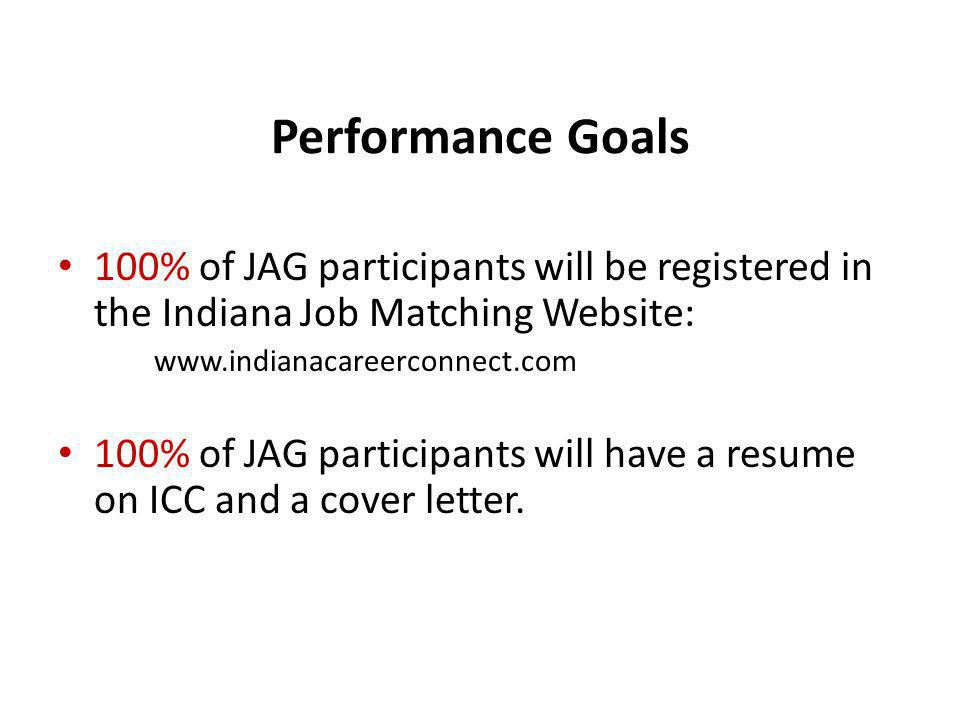 Performance Goals 100% of JAG participants will be registered in the Indiana Job Matching Website: www.indianacareerconnect.com 100% of JAG participan