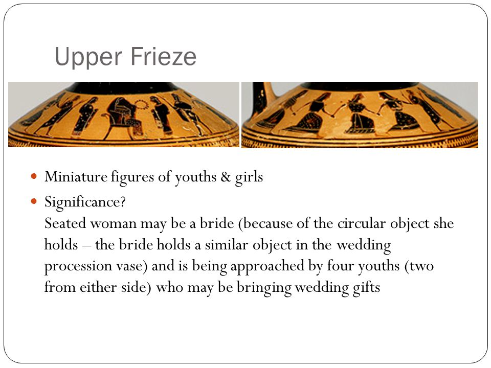 Upper Frieze Miniature figures of youths & girls Significance? Seated woman may be a bride (because of the circular object she holds – the bride holds