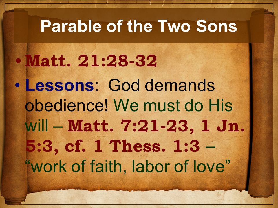 Parable of the Two Sons Matt. 21:28-32 Lessons: God demands obedience.
