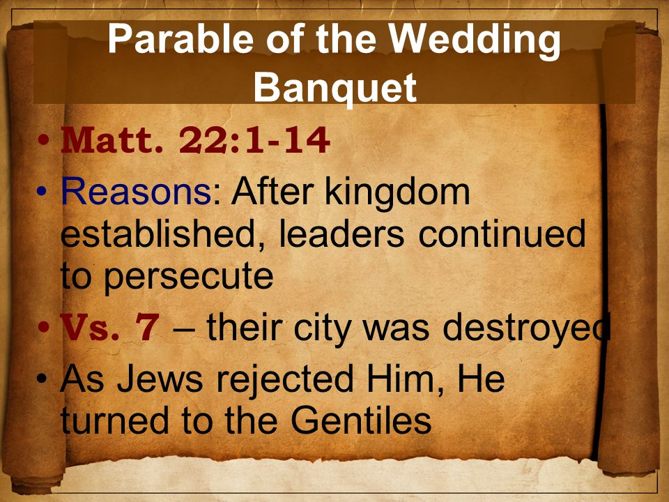 Parable of the Wedding Banquet Matt.