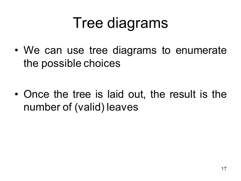 17 Tree diagrams We can use tree diagrams to enumerate the possible choices Once the tree is laid out, the result is the number of (valid) leaves