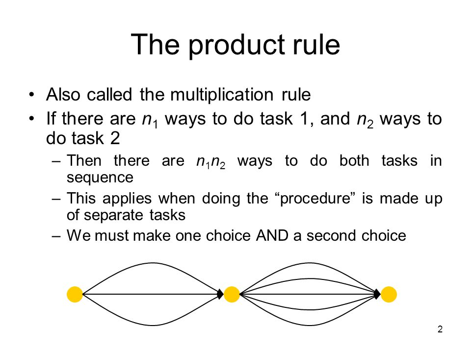 2 The product rule Also called the multiplication rule If there are n 1 ways to do task 1, and n 2 ways to do task 2 –Then there are n 1 n 2 ways to do both tasks in sequence –This applies when doing the procedure is made up of separate tasks –We must make one choice AND a second choice