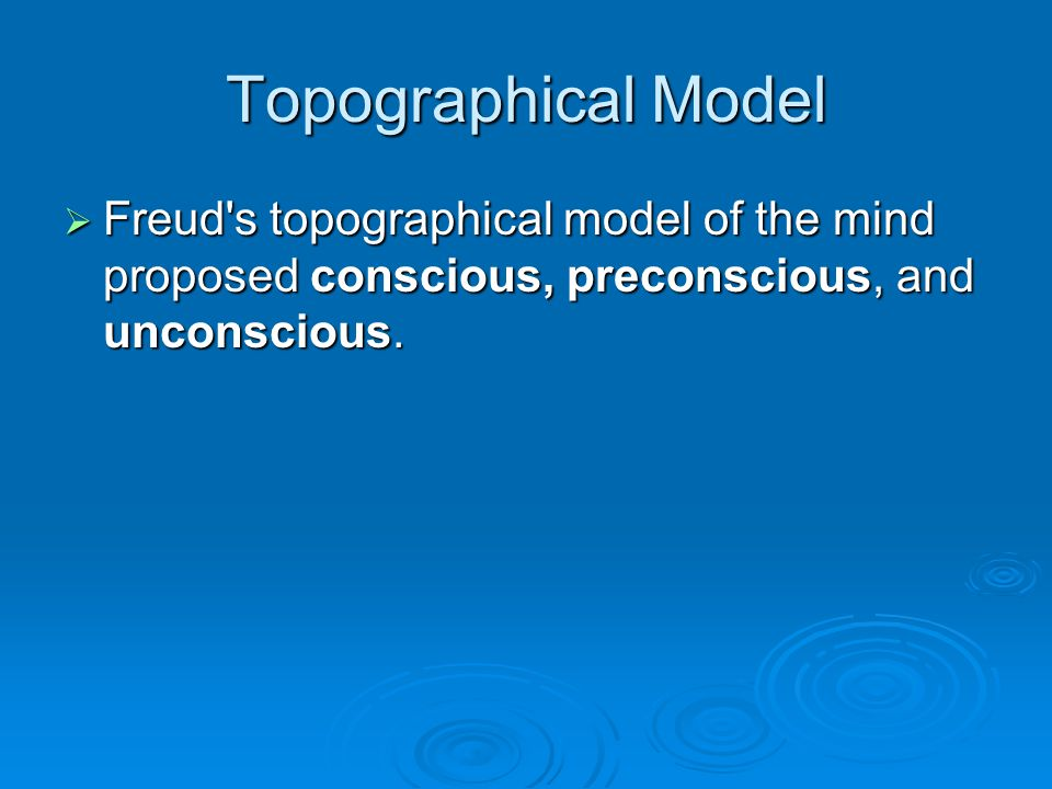 Topographical Model Freud's topographical model of the mind proposed conscious, preconscious, and unconscious. Freud's topographical model of the mind