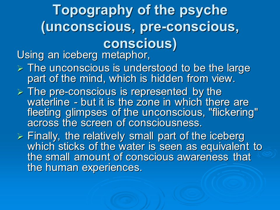Topography of the psyche (unconscious, pre-conscious, conscious) Using an iceberg metaphor, The unconscious is understood to be the large part of the