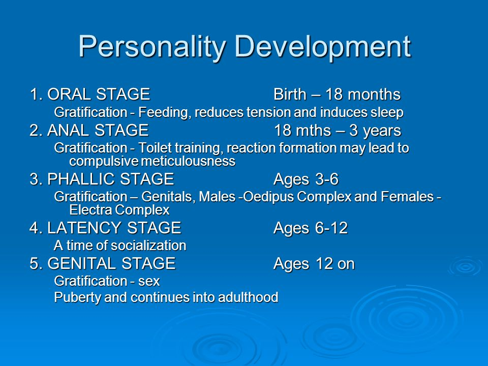 Personality Development 1. ORAL STAGE Birth – 18 months Gratification - Feeding, reduces tension and induces sleep 2. ANAL STAGE 18 mths – 3 years Gra