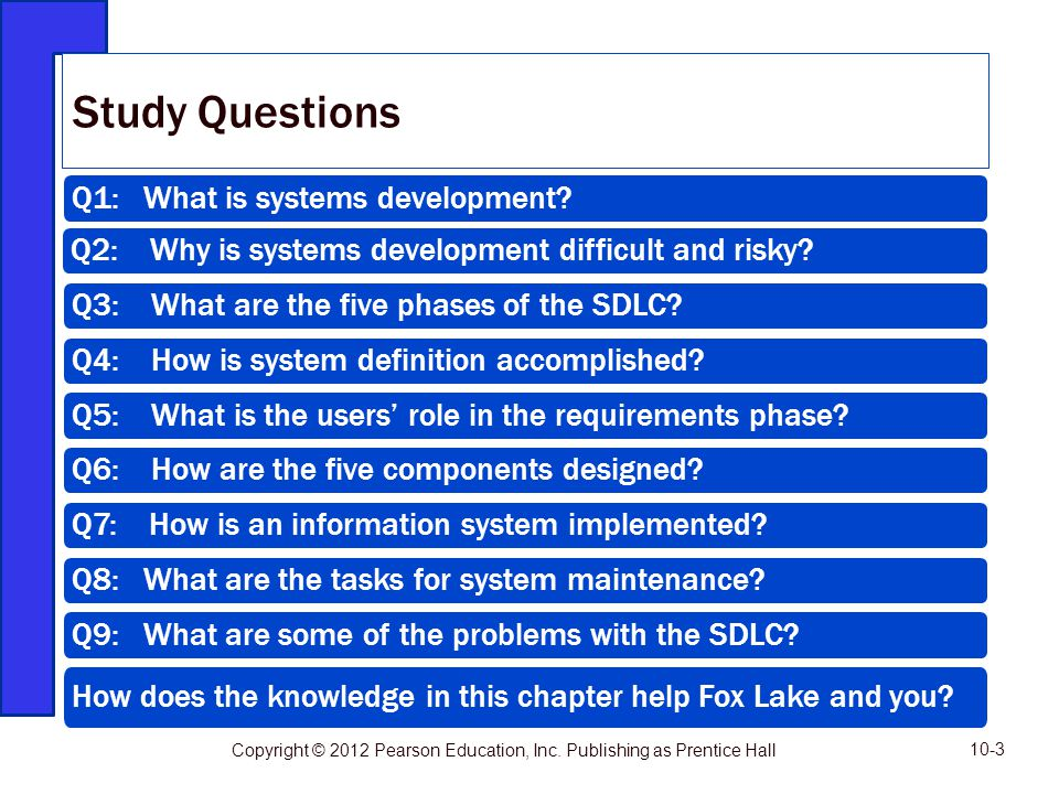 Q1: What is systems development? Q2: Why is systems development difficult and risky? Q3: What are the five phases of the SDLC? Q4: How is system defin
