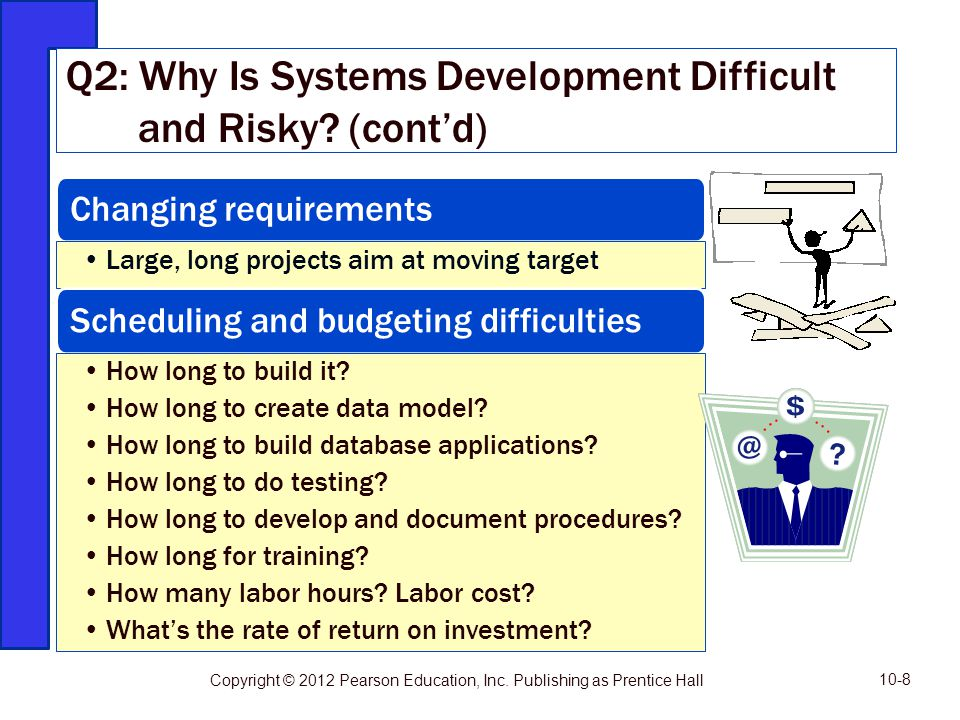 Changing requirements Large, long projects aim at moving target Scheduling and budgeting difficulties How long to build it? How long to create data mo