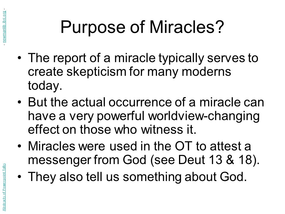 Purpose of Miracles.