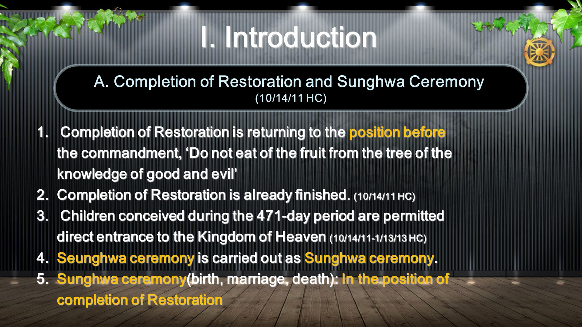 B.Fall of Adam and Eve and Restoration B.