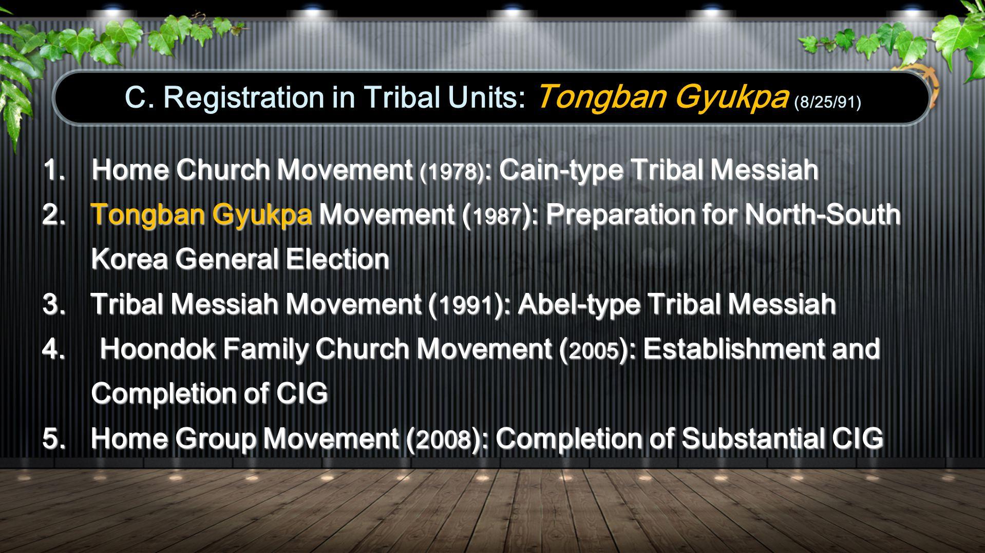 C. Registration in Tribal Units: Tongban Gyukpa (8/25/91) 1.