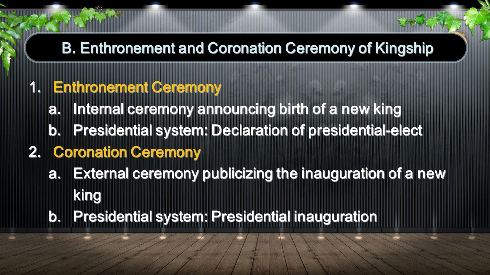 1.Enthronement Ceremony of Gods Kingship (1/13/01) 2.