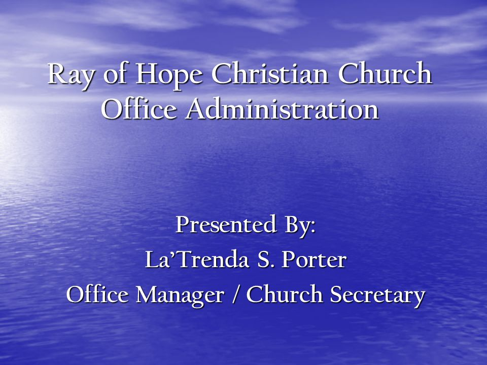 Monthly Bulletins The Office Manager/ Church Secretary is also responsible for producing the monthly bulletin, which is comprised of all forms submitted by the ministries and staff for upcoming events.