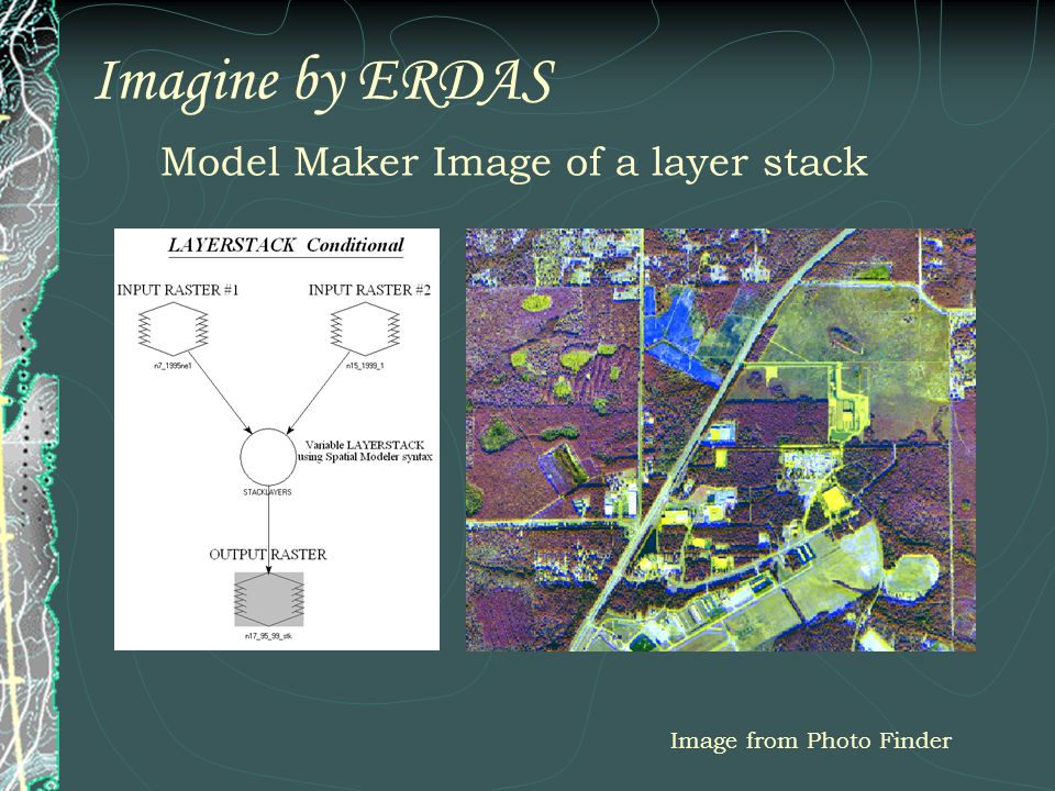 Imagine by ERDAS Model Maker Image of a layer stack Image from Photo Finder