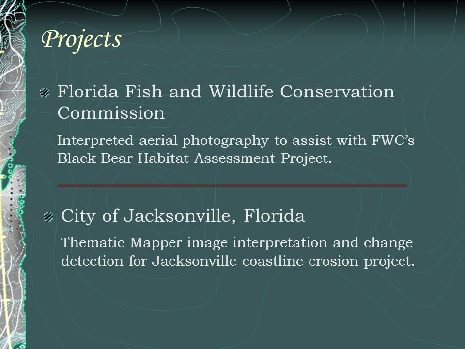 Projects Florida Fish and Wildlife Conservation Commission Interpreted aerial photography to assist with FWCs Black Bear Habitat Assessment Project. C