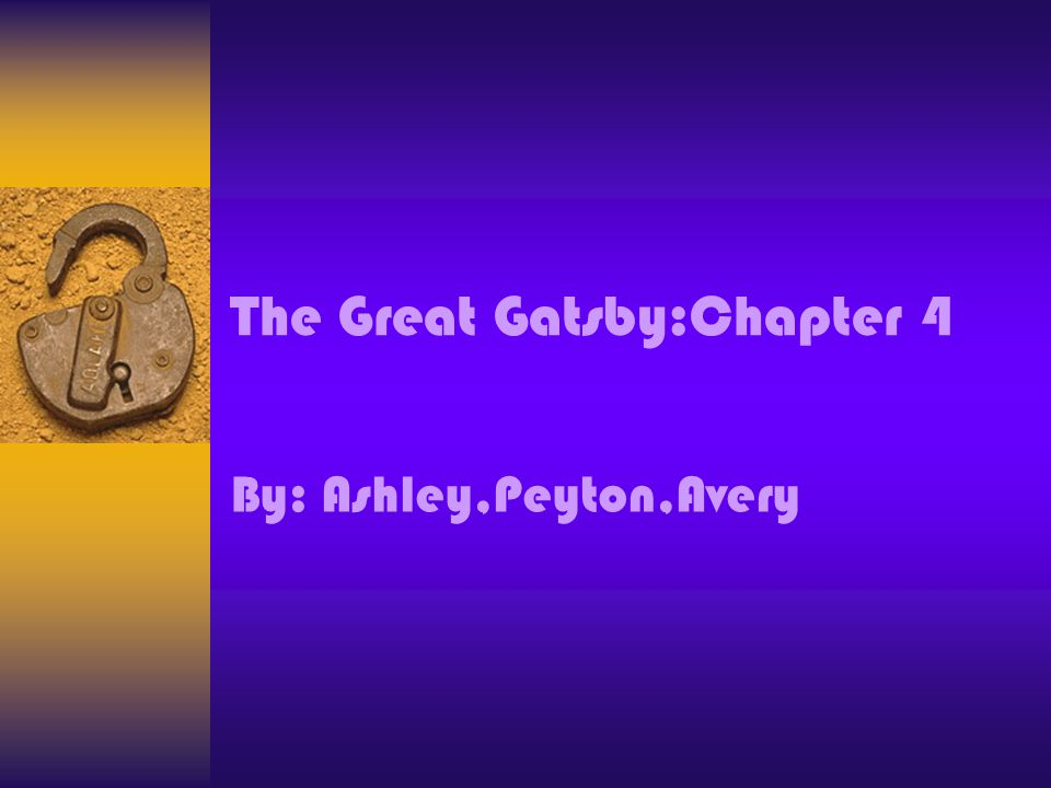 Summery A Party takes place at Gatsbys mansion,this time on a Sunday morning, the guest created vignettes during the during the party, the chapter begins with a lengthy description of the guest, and it concludes much as a periodic sentence does with the summary.