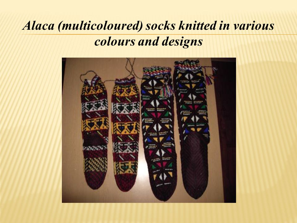 Alaca (multicoloured) socks knitted in various colours and designs