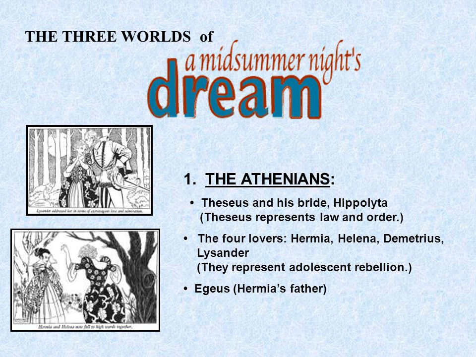 THE THREE WORLDS of 1. THE ATHENIANS: Theseus and his bride, Hippolyta (Theseus represents law and order.) The four lovers: Hermia, Helena, Demetrius,