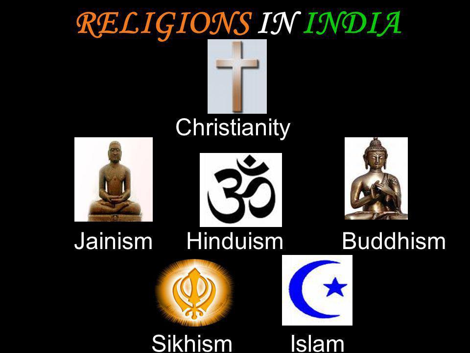 BuddhismJainism SikhismIslam Christianity Hinduism RELIGIONS IN INDIA