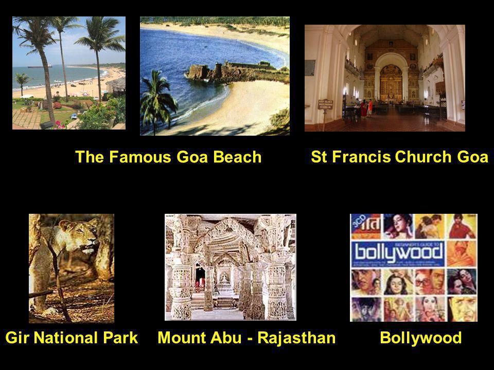 The Famous Goa Beach Gir National ParkBollywoodMount Abu - Rajasthan St Francis Church Goa