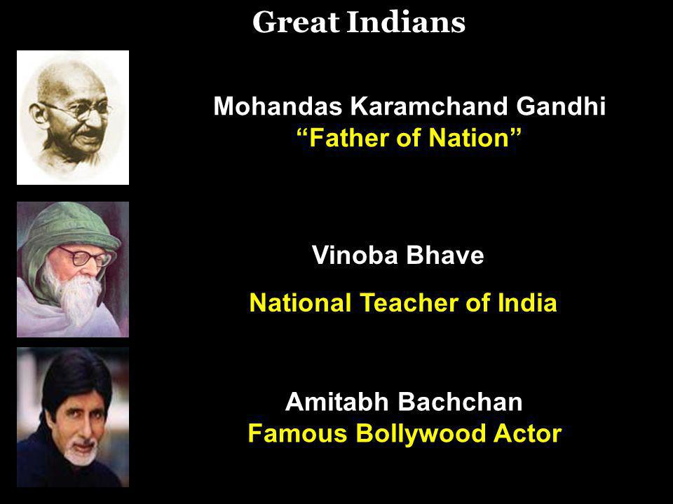 Vinoba Bhave National Teacher of India Great Indians Mohandas Karamchand Gandhi Father of Nation Amitabh Bachchan Famous Bollywood Actor