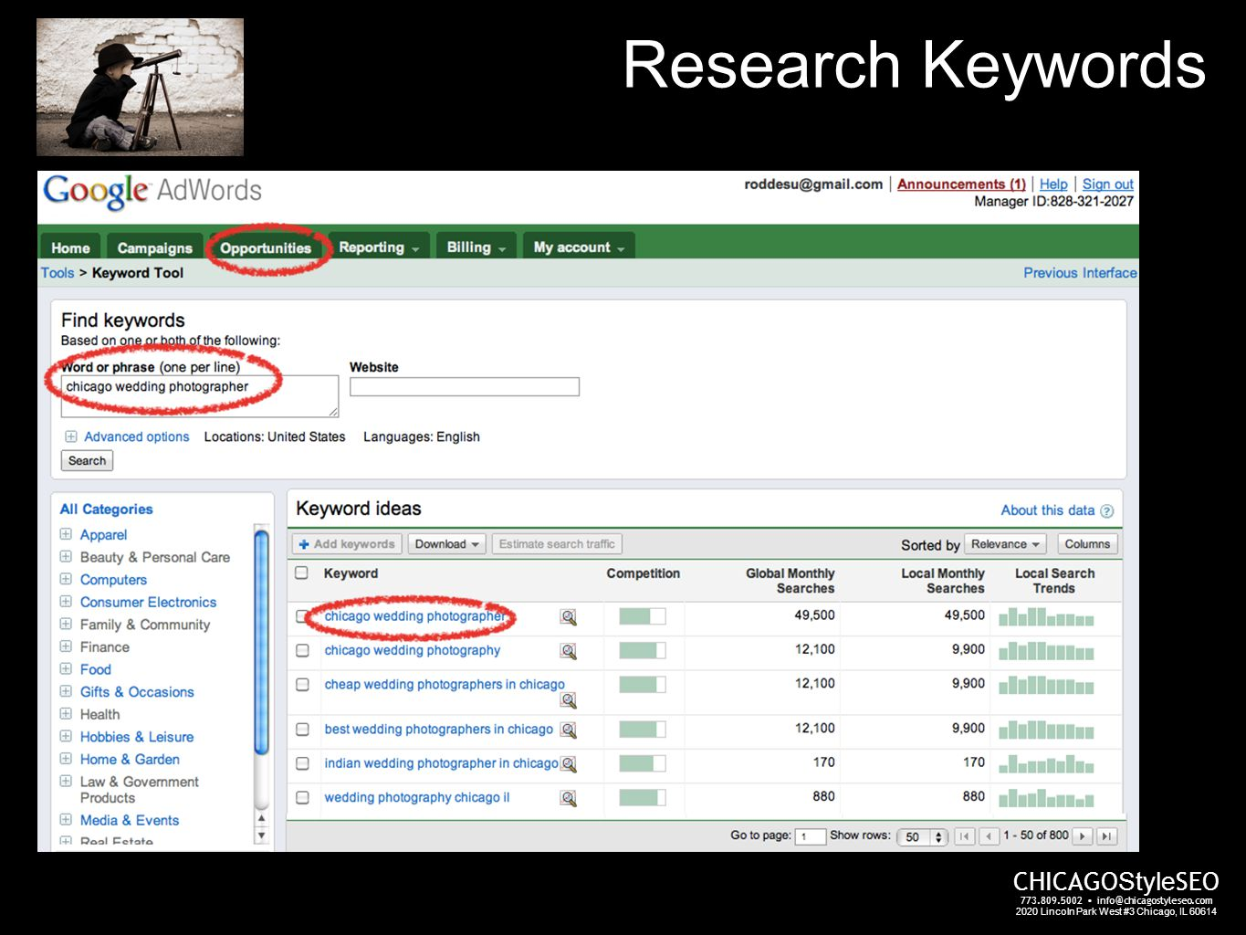 Research Keywords CHICAGO Style SEO 773.809.5002 info@chicagostyleseo.com 2020 Lincoln Park West #3 Chicago, IL 60614