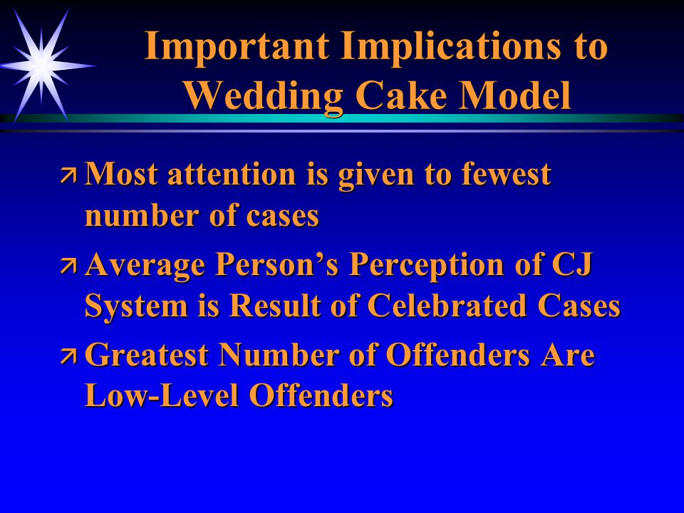 Important Implications to Wedding Cake Model ä Most attention is given to fewest number of cases ä Average Persons Perception of CJ System is Result o