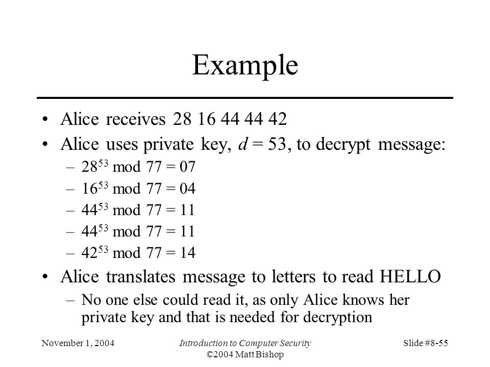 November 1, 2004Introduction to Computer Security ©2004 Matt Bishop Slide #8-55 Example Alice receives 28 16 44 44 42 Alice uses private key, d = 53, to decrypt message: –28 53 mod 77 = 07 –16 53 mod 77 = 04 –44 53 mod 77 = 11 –42 53 mod 77 = 14 Alice translates message to letters to read HELLO –No one else could read it, as only Alice knows her private key and that is needed for decryption
