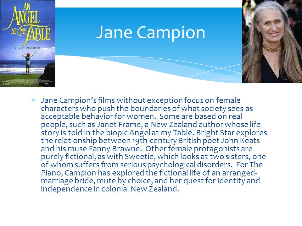 Jane Campions films without exception focus on female characters who push the boundaries of what society sees as acceptable behavior for women.
