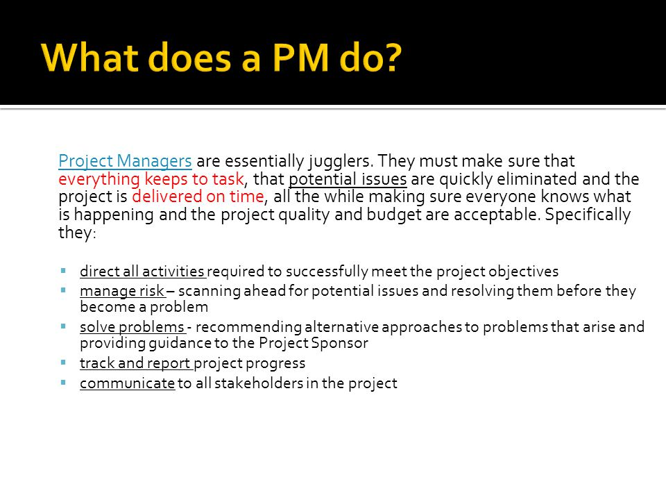 Project Managers are essentially jugglers. They must make sure that everything keeps to task, that potential issues are quickly eliminated and the pro