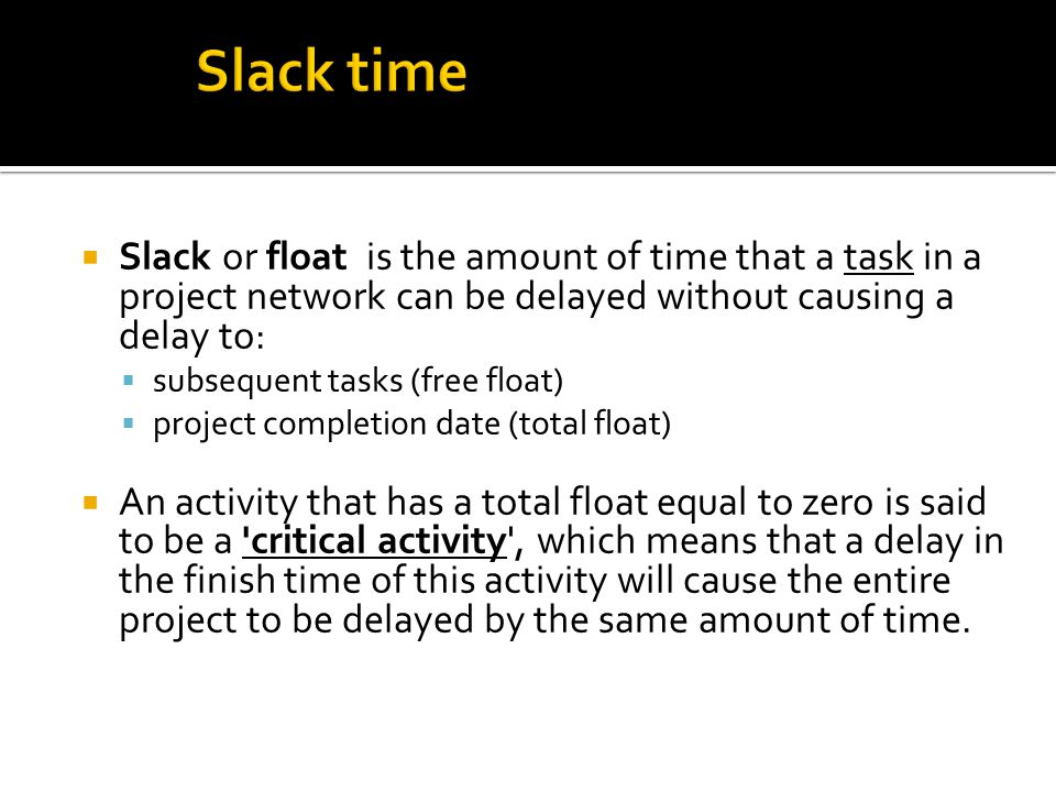 Slack or float is the amount of time that a task in a project network can be delayed without causing a delay to: subsequent tasks (free float) project