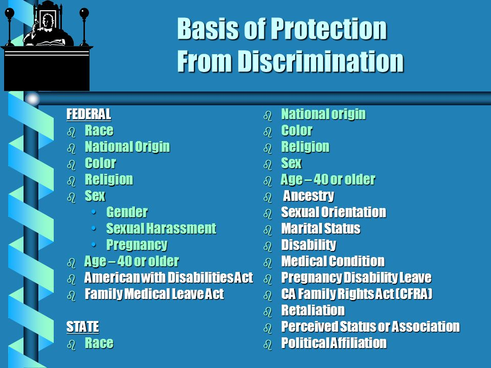 LEGAL AUTHORITIES (Federal and State) b TITLE VI, Civil Rights Act of 1964 b TITLE VII, Civil Rights Act of 1964 b Section 504 - REHABILITATION ACT of