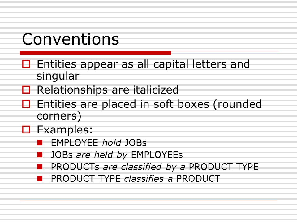 Conventions Entities appear as all capital letters and singular Relationships are italicized Entities are placed in soft boxes (rounded corners) Examp
