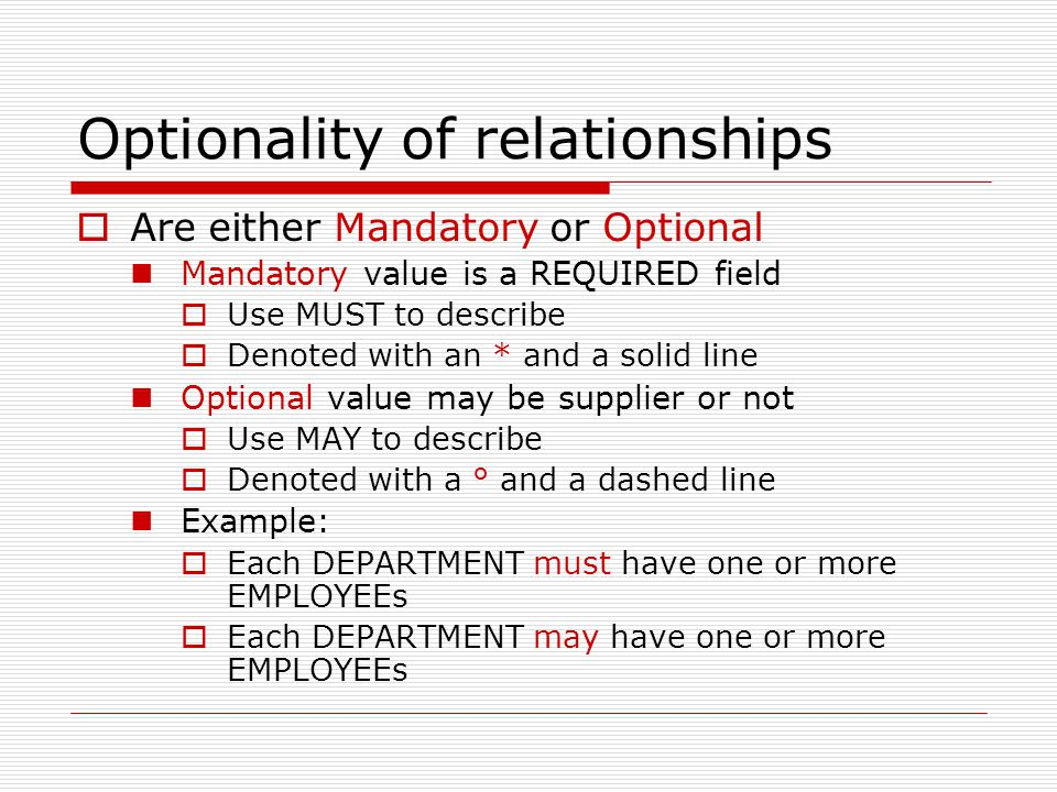 Optionality of relationships Are either Mandatory or Optional Mandatory value is a REQUIRED field Use MUST to describe Denoted with an * and a solid l