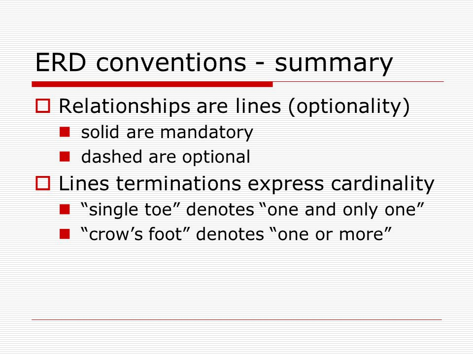 ERD conventions - summary Relationships are lines (optionality) solid are mandatory dashed are optional Lines terminations express cardinality single