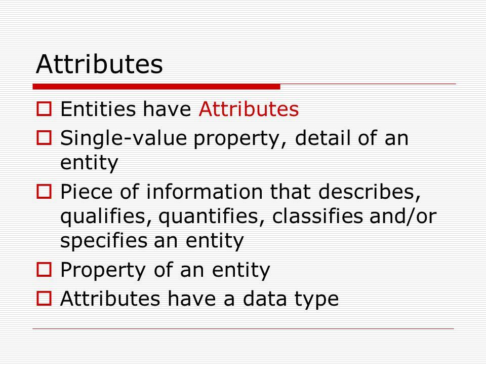 Attributes Describe an entity Attribute vs.attribute value color vs.
