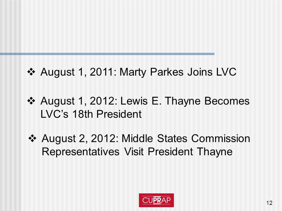 12 August 1, 2011: Marty Parkes Joins LVC August 1, 2012: Lewis E. Thayne Becomes LVCs 18th President August 2, 2012: Middle States Commission Represe