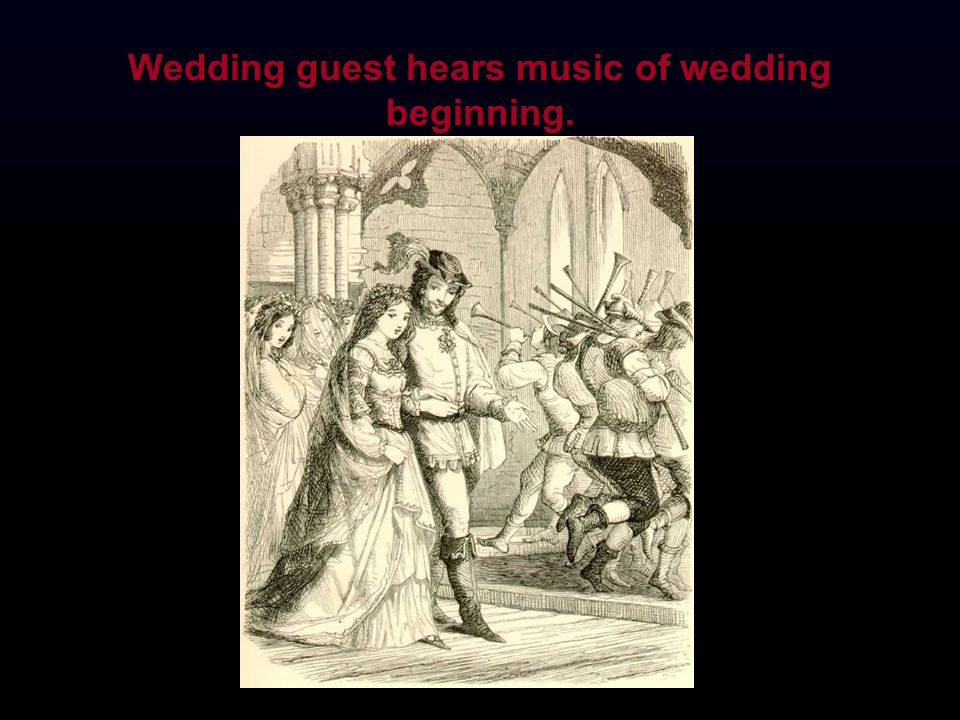 Wedding guest hears music of wedding beginning.