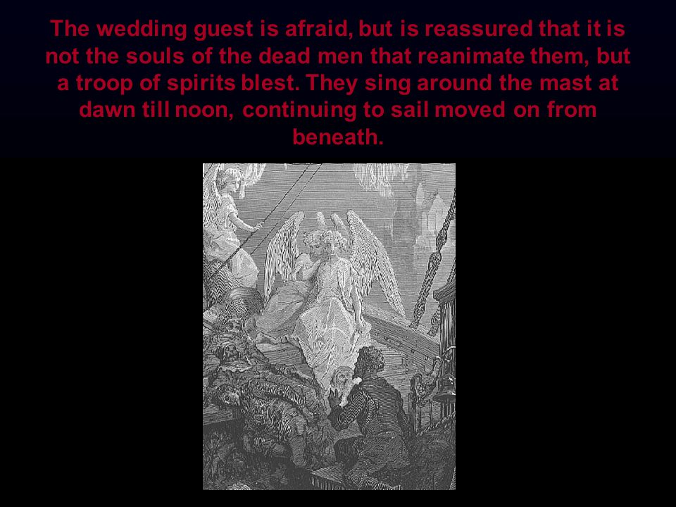 The wedding guest is afraid, but is reassured that it is not the souls of the dead men that reanimate them, but a troop of spirits blest. They sing ar