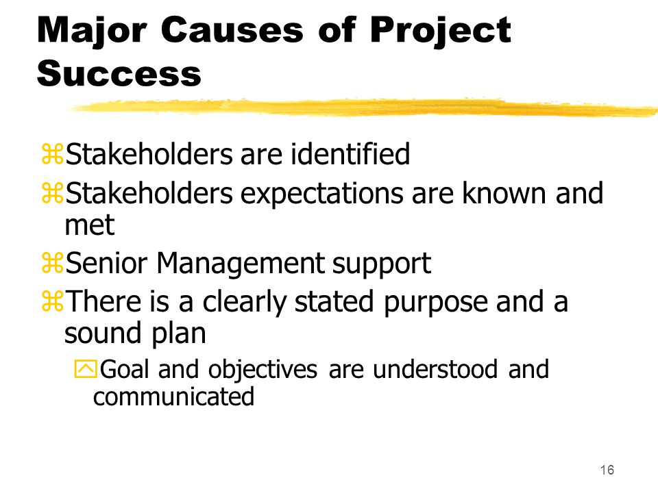 15 Major Causes of Project Success zA constructive goal-oriented culture zTechnically competent team zEffective (and committed) team zExcellent communication zTrust