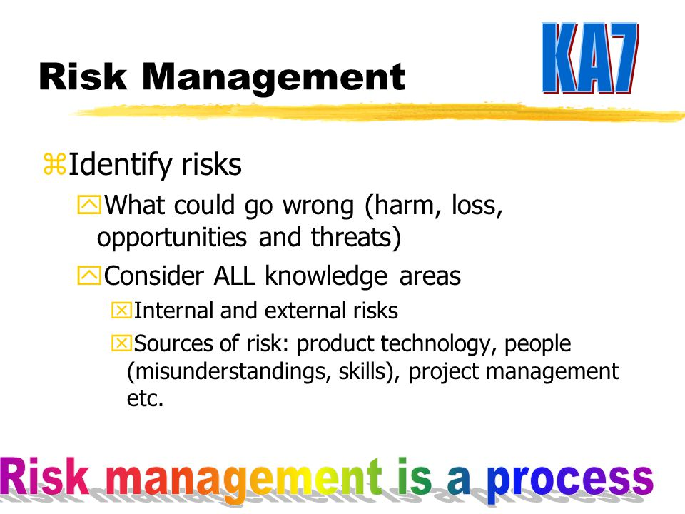 40 Identify Assumptions and Risks zEach objective will have its own risks and assumptions zHelps think through the project process and issues associated with execution zIdentifies resource needs and issues involving resource availability zIdentifies potential delays and the impact of these delays zPotential cost overruns can be predicted and resolved