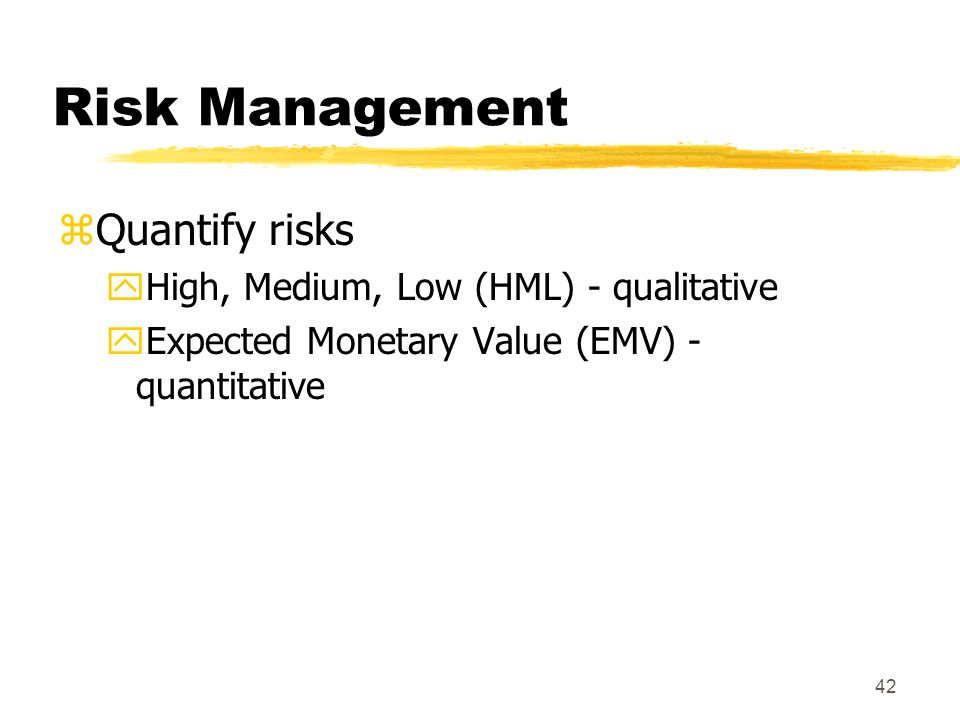 41 Risk Management zIdentify risks yWhat could go wrong (harm, loss, opportunities and threats) yConsider ALL knowledge areas xInternal and external risks xSources of risk: product technology, people (misunderstandings, skills), project management etc.